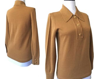 1960s Flat Knit Collared Top — Small