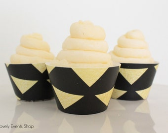 Black & Gold Triangle Cupcake Wrappers, Gold Cupcake Wrappers, Black Cupcake Wrappers, BOHO Cupcake Wrappers, Chic-Set Of 6, 12,18,24+