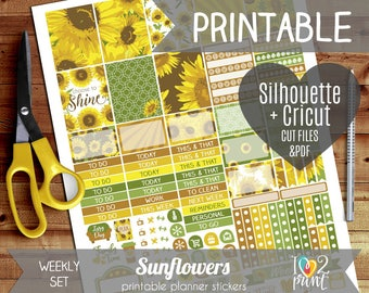 Sunflowers Weekly Printable Planner Stickers, Erin Condren Planner  Stickers, Weekly Stickers, Sunflowers, Cut files