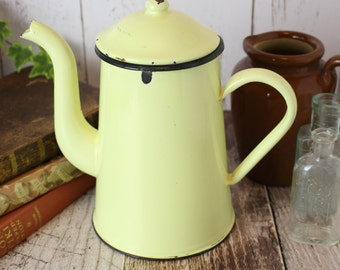 Vintage French Enamel Coffee Pot, Pale Yellow Coffee Pot, Vintage Coffee Pot