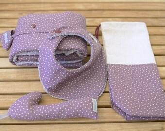 Kit gift of birth | Exchanger, bag multi-purpose, bib bandana and rattle | Lilac & star