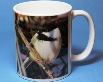 Chickadee Coffee Mug, bird mug, bird coffee mug, bird lover gift, birder gift, birdwatcher gift, chickadee mug