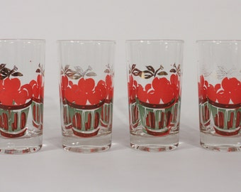 Vintage Tumblers with Cherries-Set of 4