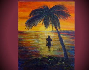 Painting acrylic on canvas art Sunset painting abstract gifts for women evening painting ideas bright decor colorful wall art palm tree art