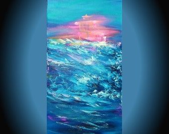 Painting canvas original art abstract picture Boats art Birthday gift Valentines day Sailboat art Sea painting blue pink turquoise artwork