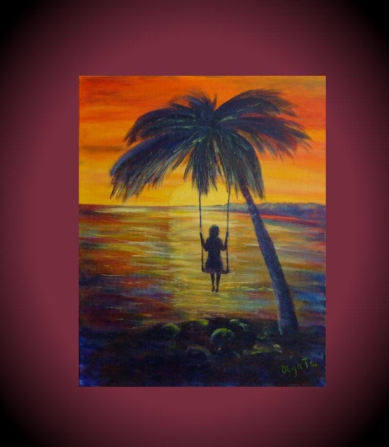 Romantic art bright decor palm tree art ocean beach women art for Palm tree painting