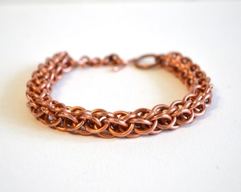 copper jewelry link bracelet mens metal jewelry copper gifts primitive unisex jewelry natural copper gift for men chainmaille bracelet