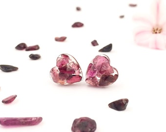 Garnet earrings, Gemstone stud earrings, Real gemstone earrings, Sterling silver earrings, Sterling earrings with gemstones, Sweet 16 gift