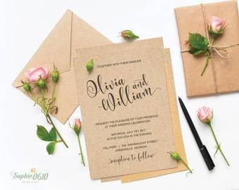 Printable wedding invitation set, simple wedding invitation, calligraphy wedding invite, digital invitation file, diy wedding