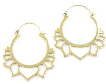 Lotus Flower  Brass Earrings, Tribal Brass Earrings, Festival Jewelry, Gypsy Earrings, Ethnic, Yoga Earrings