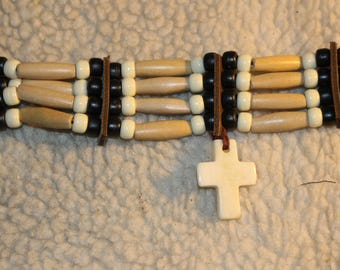 Native American Choker Style Necklace with White Cross