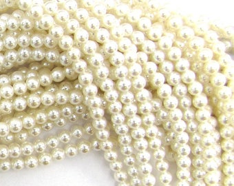 "3.5mm white shell pearl round beads 16"" strand 11497"