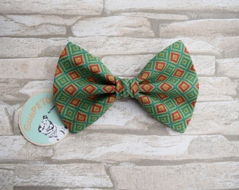"Bow Tie Bowtie ""Christmas Plaid"" for dogs, cats or other pets, green red"