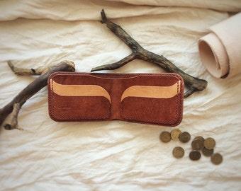 Leather billfold | brown billfold | handmade billfold | bifold billfold | man leather billfold | minimalist billfold | durable wallet