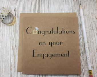 Engagement Card - Diamond Ring Engagement Congratulations Card - Congratulations on your Engagement - Gold Glitter Daimond Ring Card - Love