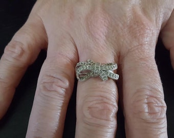 Bow Ring set in Sterling Silver with CZ Chips