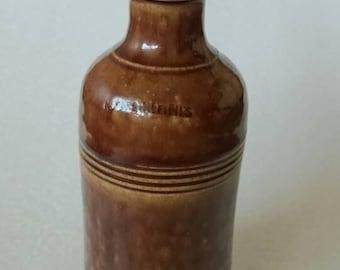N. Antoine & Fils bottle Encre Japonaise,  brown stoneware 17cm, lettet R,  master ink bottle, antique stoneware