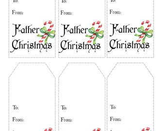 Instant Printable Christmas Gift Tags, Holiday Tags  - From Father Christmas - Instant Download