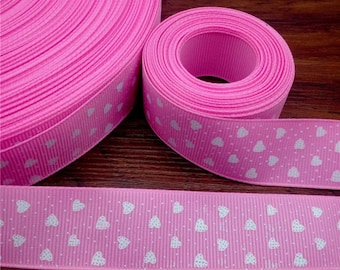 """1"""" Pink and White Heart Ribbon by the Yard   K10"""