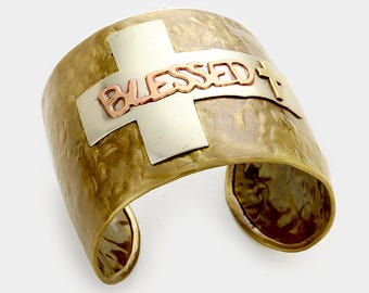 Blessed Cross Cuff Bracelet