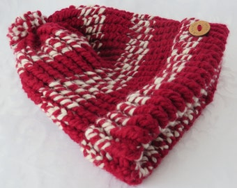 Large Hand Knit Toque / Red & White Toque / Red Striped Hand Knit Hat / Winter Hat / Warm Hat / Red Chunky Knit Toque / Adult Hat - LHat109