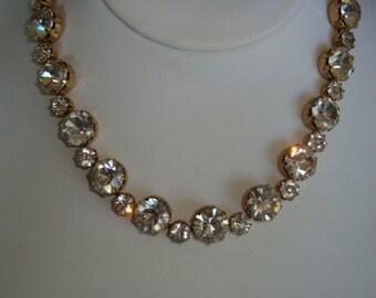 Signed Kramer Large Rhinestone Necklace
