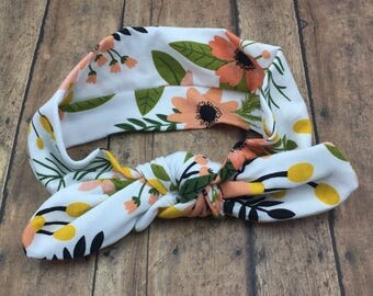 Coral and Mustard Floral Headband, Buy 3 Get 1 Free! Baby Head Wrap, Top Knot Headband, Floral Head Wrap, Mustard Floral Bow