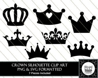 Crown Silhouette Clip Art Set - 7 Piece - 7 inches - Instant Download - Printable - PNG & SVG #108