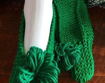Hand knit slipper socks sz 9-11.
