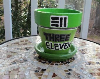 311 band - 4 inch hand painted indoor/outdoor terracotta pot