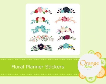 Floral Stickers, Flower Stickers, Floral Elements, Floral Planner Stickers, Floral Header Stickers