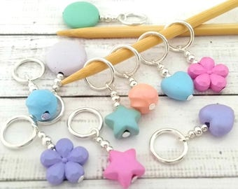 pastel stitch markers - mixed colour and shapes stitchmarkers - knitting or crochet progress markers place holders