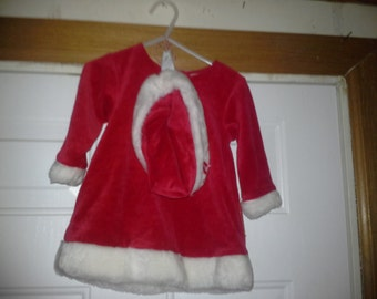infant girl christmas outfit with hat  size 12 month