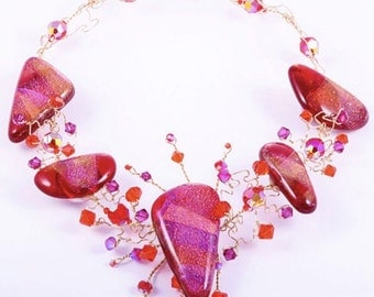 AUDREY pink and orange Necklace