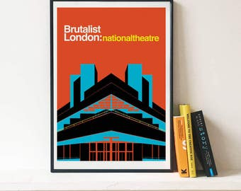 Brutalist London: National Theatre-  Illustrated poster, Matte and Giclee Art Prints in A3 or A2 sizes. Wall Art, Prints of London