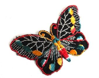 Antique Butterfly applique, 1930s vintage embroidered applique. Vintage patch, sewing supply. Applique, Crazy quilt. #643G1A1K1E