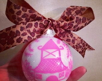 Pink Chinoiserie Ornament | Pagoda, Pink and White, Blue Willow, Holiday, Christmas, Housewarming, Hostess, Gift, Preppy