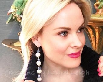 Pom Pom Earrings   Mini, WHITE, chinoiserie, navy, blue and white, porcelain, Chinese, delft, gold, beaded, dangle, pompom, bonbon
