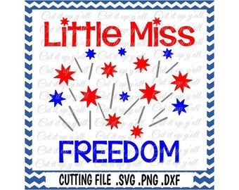 Little Miss Freedom Svg-Dxf-Fcm-Png Cutting File For Cricut Design Space and Silhouette Cameo, Svg Download