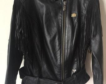 Original Fringed Harley Davidson Short Vintage Black Genuine Leather Motorcycle Jacket Men's Size Large.