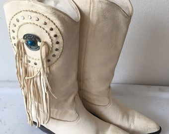 White women's cowboy boots, from real leather, soft leather, with decoration-fringe and brooch, vintage style, western, old boots, size 8.