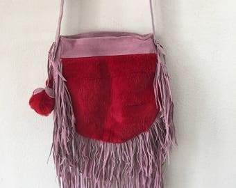 Real handmade bag leather, soft&genuine recycling leather with elements of fashionable leather fringe new women's pink and red size-medium.