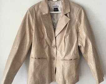 Brilliant Mid Length Vintage Beige Genuine Soft Leather With Snake Print Men's Size Extra Large.
