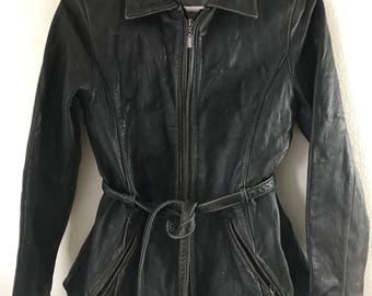 Vintage leather jacket woman size medium .