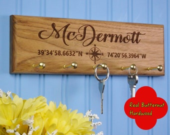 Custom Wood Key Holder - Latitude & Longitude Coordinates - Housewarming Gift - Personalized New House Present - Our First Home