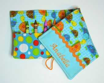 Personalized Crayon Roll - Teal Turtles, crayons INCLUDED, Crayon roll-up, pencil case, 12+ crayons