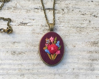 Hand Embroidered Necklace, floral pendant, burgundy linen fabric, bright pink, gift for her, boho style