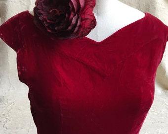 Red Velvet Vintage Party Dress