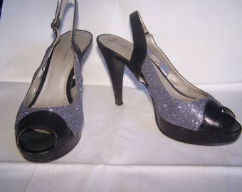 Silver glitter and black sandals, Size 7.5