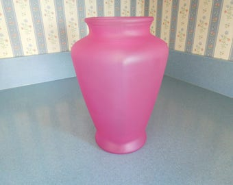 "Deep Rose Pink ""Pharaoh's Jar""  Vase Almost 9 Inches Tall"